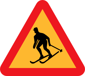 free vector Skiier Sign clip art