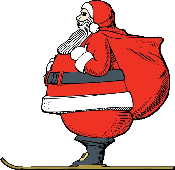 free vector Skiing Santa clip art