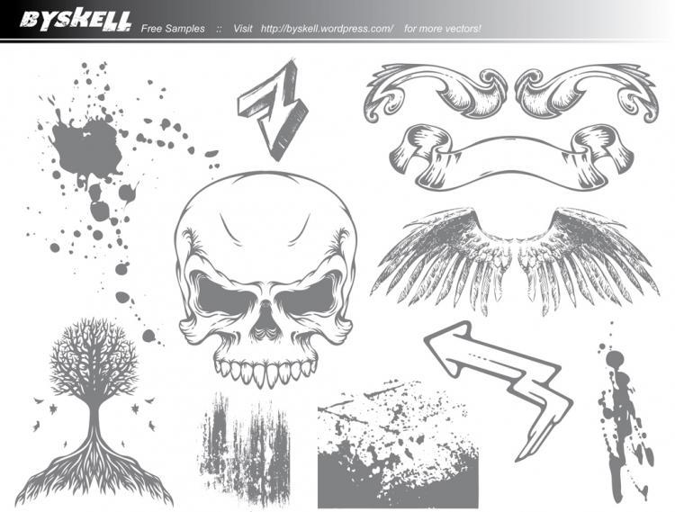 free vector Skull & Wings Grunge Vector Pack