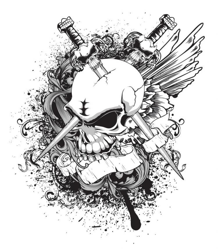 Skull And Crossbones Tshirt Pattern Vector Free