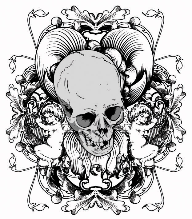 free vector Skull printed pattern vector