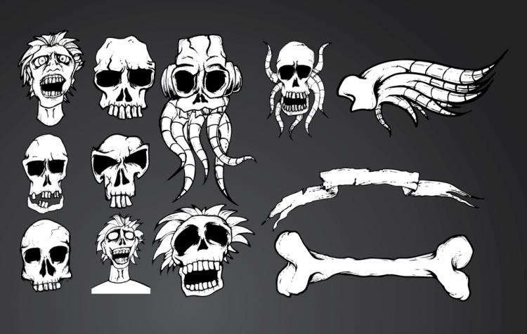 free vector Skull Set