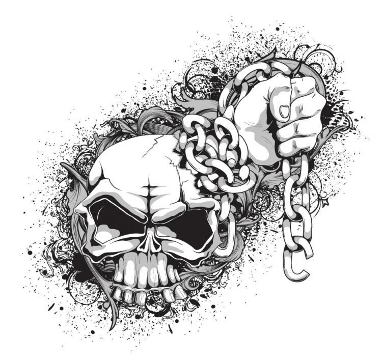 free vector Skull Tide T Pattern Vectors Skull