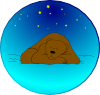 free vector Sleeping Bear Under Stars | Circle clip art