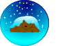 free vector Sleeping Bear Under Stars With Snow | Circle clip art