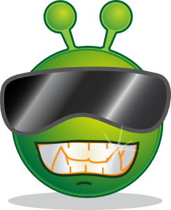 free vector Smiley Green Alien Cool clip art