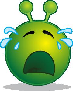 free vector Smiley Green Alien Cry clip art