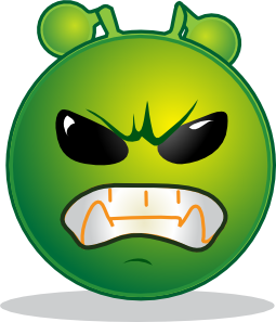free vector Smiley Green Alien Grrr clip art
