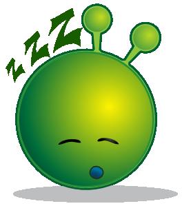 free vector Smiley Green Alien Sleepy clip art