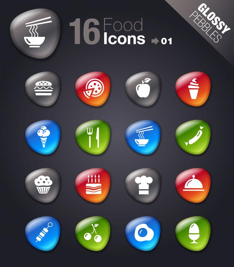 free vector Smooth soft stone icon 01 vector