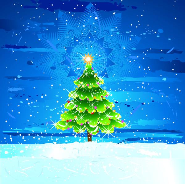 free vector Snow christmas tree vector