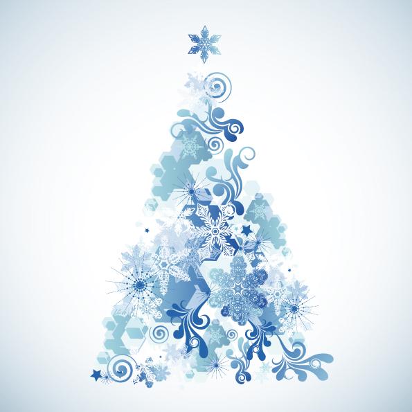 Free Vector Snowflake Christmas Tree