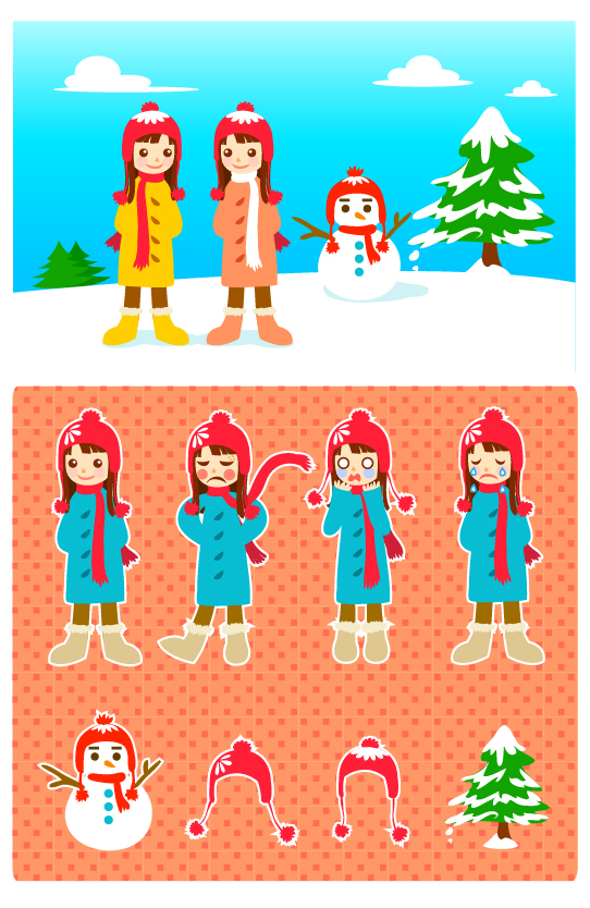 free vector Snowman and the little girl vector