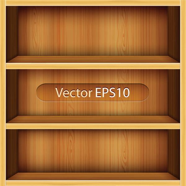 free vector Solid wood bookshelves vector 1