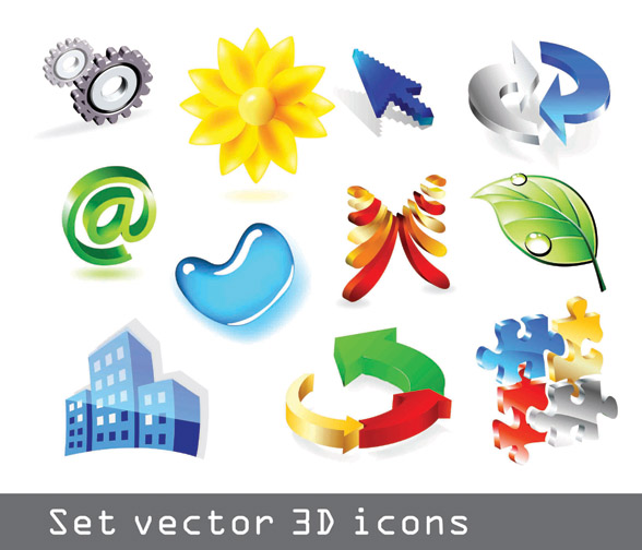 free vector Some threedimensional icon vector