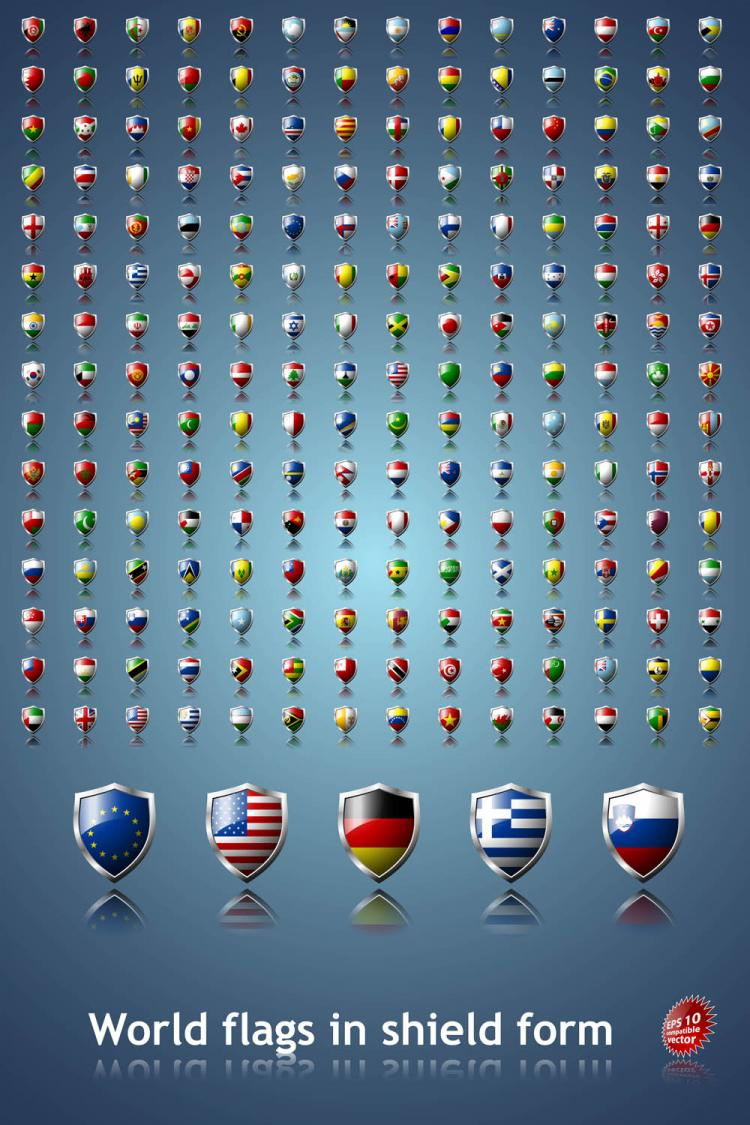 free vector Sophisticated national flag icon 03 vector