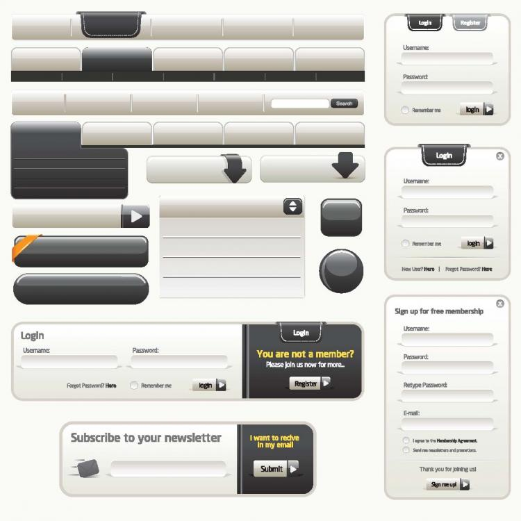 free vector Sophisticated web design elements 01 vector