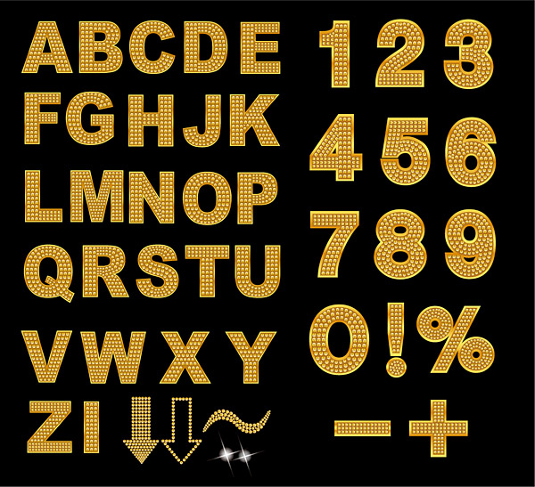 free vector Sparkling diamond letters and numbers vector