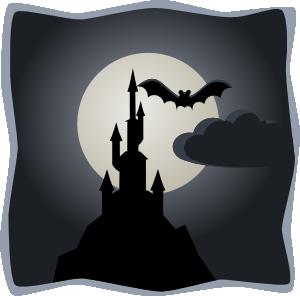 free vector Spooky Castle In Full Moon clip art