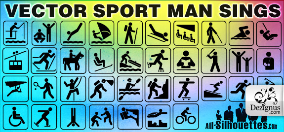 Sport Man Signs (27168) Free AI Download / 4 Vector