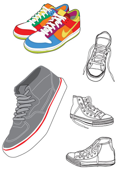 free vector Sports shoes and canvas shoes vector material