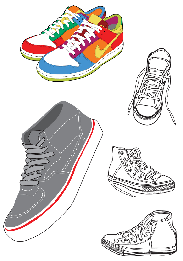 free vector Sports shoes and canvas shoes vector