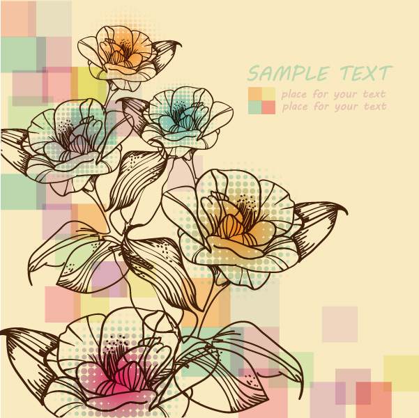free vector Spring elegant handpainted flowers vector background