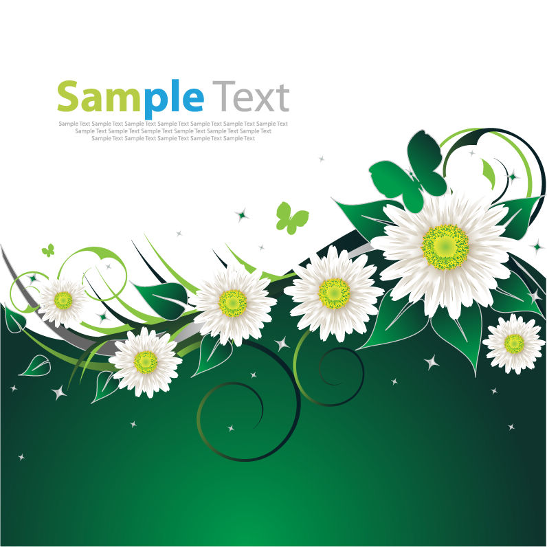 free vector Spring Flower Green Background