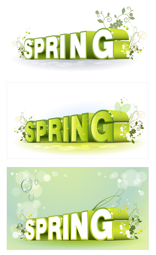 free vector Spring three-dimensional character alphabet pattern vector