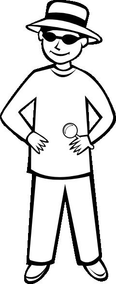 free vector Spy Kid Standing Outline clip art