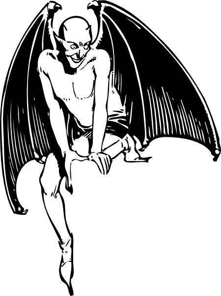 free vector Squatting Devil clip art