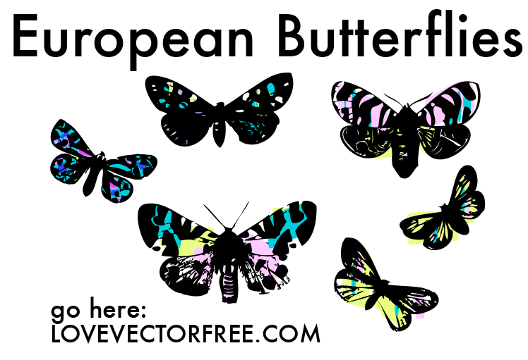free vector Stained Glass Butterflies by LVF