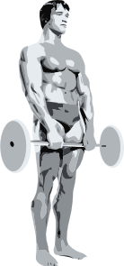 free vector Standing Body Builder Carrying Weights clip art