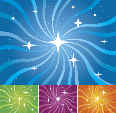 free vector Stars with rotation vector background lines
