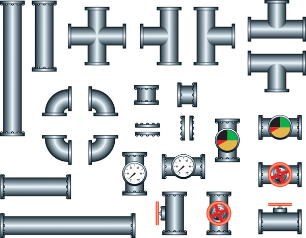 free vector Steel iron pipe vector