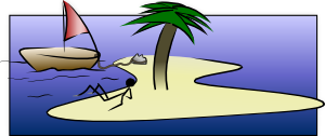 free vector Stick Man Laying On Island clip art