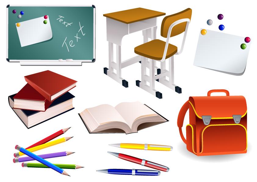 free vector Students school supplies vector material