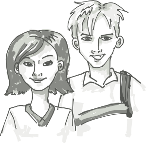 free vector Students Standing Cartoon clip art