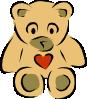free vector Stylized Teddy Bear With Heart clip art