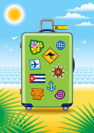 free vector Suitcase theme vector