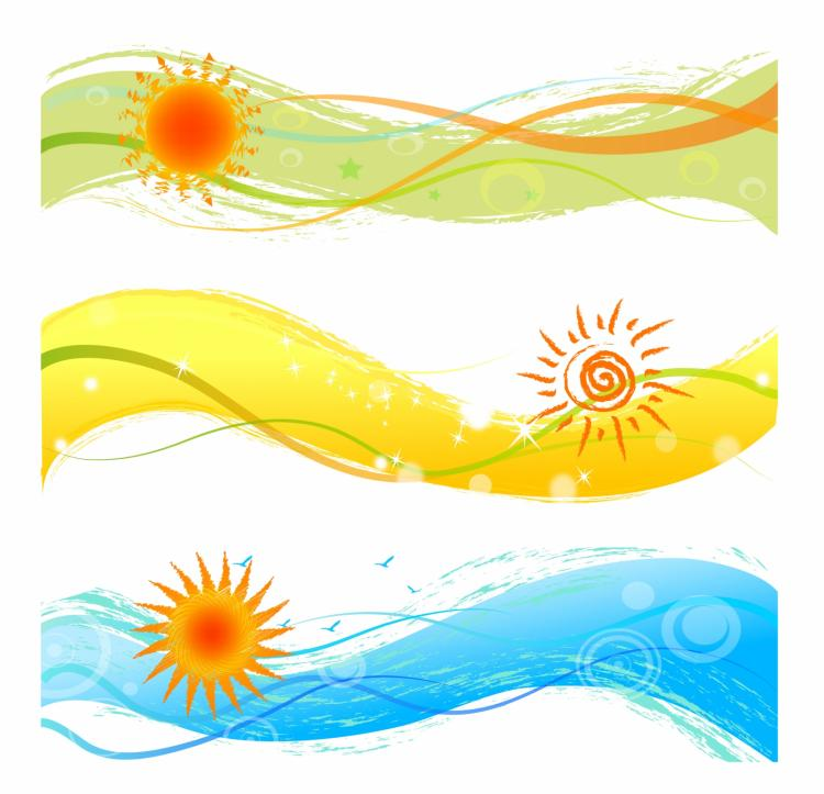 free vector Summer banners with sun