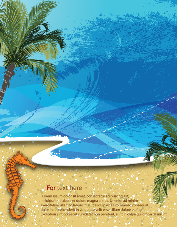 free vector Summer beach background 01 vector