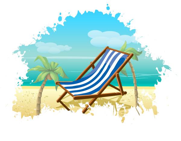 free vector Summer Beach Vector Background