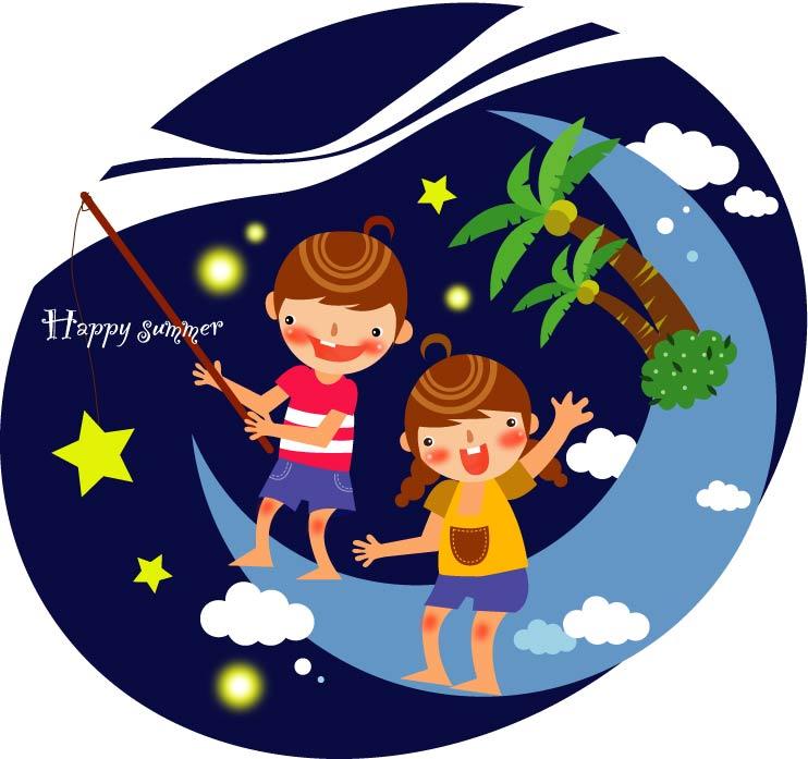 free vector Summer clip art of children 3