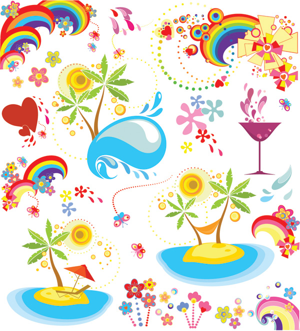 free vector Summer fun dynamic element vector