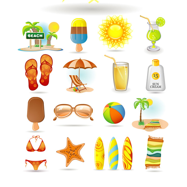 free vector Summer icon vector