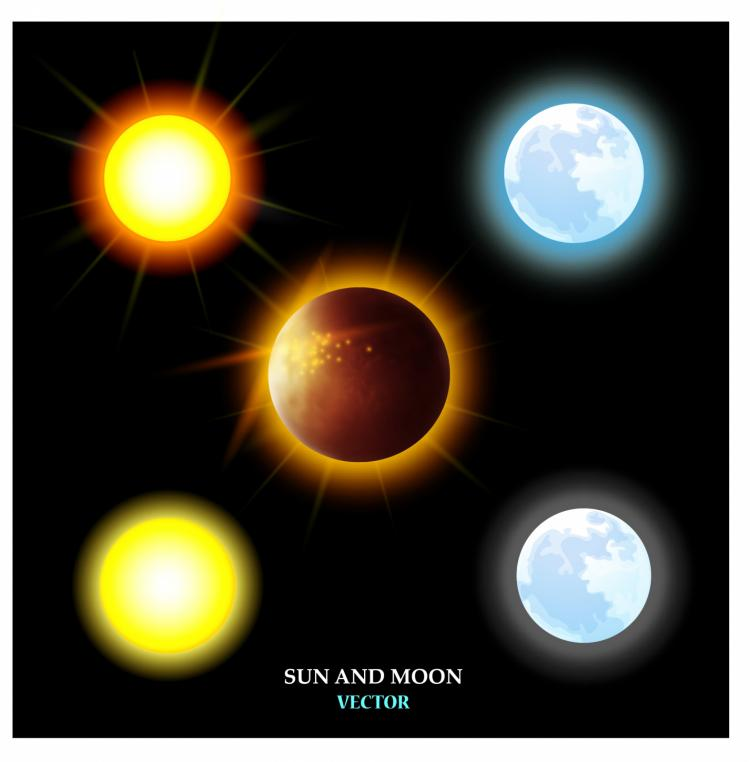free vector Sun and moon