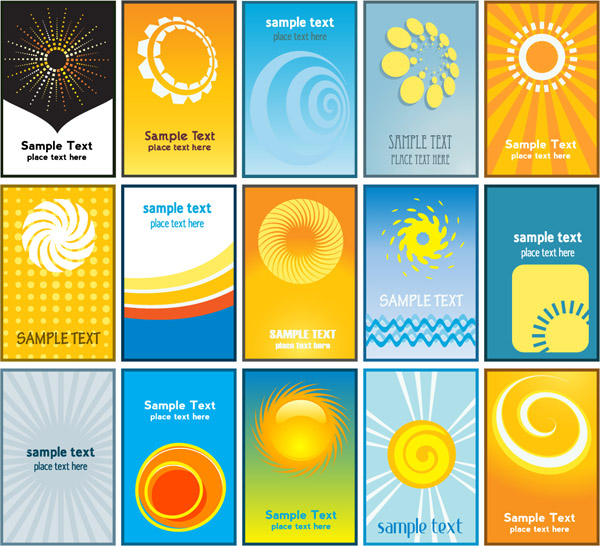 free vector Sun theme card business card background vector