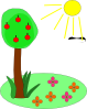 free vector Sun Tree Flowers clip art