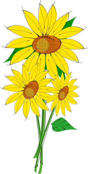 free black and white clip art sunflowers - photo #33